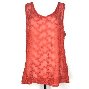 NWT Lucky Brand Red Embroidered Tank Top A170619
